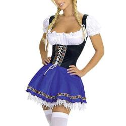 Party Women Anime Cosplay Snörning Maid kjol Klä upp kostym 2XL