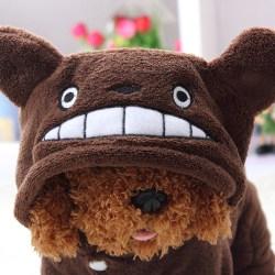 Pet Dog Hoodie Jumpsuit Cute Flannel Clothes brown M