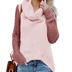 Plus Size Women Chunky Knit Warm Raglan Sleeve Knitwear Jumper Pink XL