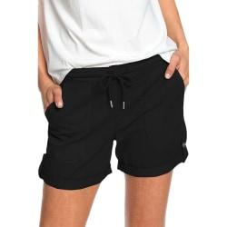 Kvinnor Plus Size Elastiskt Midje Shorts Casual Heta Byxor Svart Black 2XL