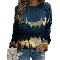 Plus Size Women Landscape Print Loose Hoodie Sweatshirt Long Blue L