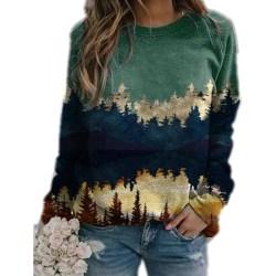 Plus Size Women Landscape Print Loose Hoodie Sweatshirt Long Green L