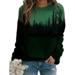 Plus Size Womens Printed Loose Hoodie Sweatshirt Long Sleeve Green 3XL