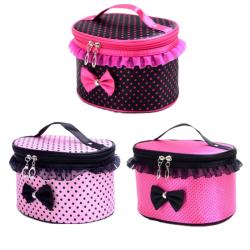 Polka Dot Bow Travel Train Makeup Bag Pink