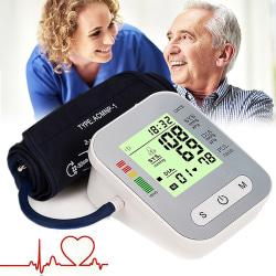 Portable Digital Upper Arm Blood Pressure Moniter Silver