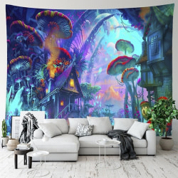 Psychedelic Mushroom House Wall Hanging Tapestry Art