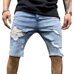 Ripped Men Cargo Pants Denim Jeans Blue XL