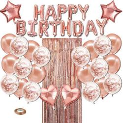 Rose Gold Happy Birthday Foil Balloons Decoration Set