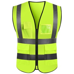 Hi Vis Safety Vest High Visibility Safety Reflective Waistcoat # 8 Yellow L