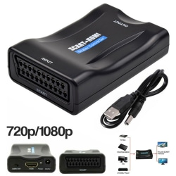 SCART to HDMI Adapter HD Video Audio Upscale Converter USB Cable