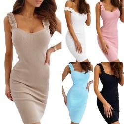 Sexy Slim Dress Kvinnor Ruffle Sleeveless Gown Nude M