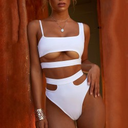 Sexy Women Two Pieces Thong Bikini Cut white XL