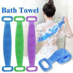 Silicone Back Scrubber Body Clean Bath Towel Belt Pink 72*12CM