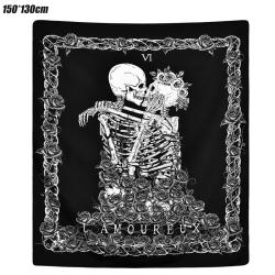 Skeleton Kiss Living Room Bedroom Decorative Tapestry 150*130cm