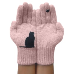 Soft Thick Winter Warm Mittens Cute Cat Gloves Pink