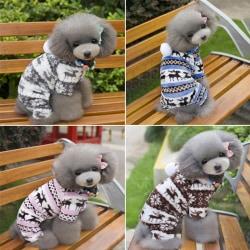 Soft Winter Warm Pet Dog Clothes Deer blue L