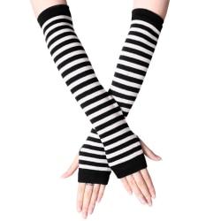 Striped Fingerless Gloves Arm Warmers Ladies Women Mittens Black white