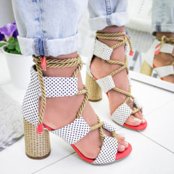 Summer Women Color Patchwork Lace Up Sandal whitedot 43