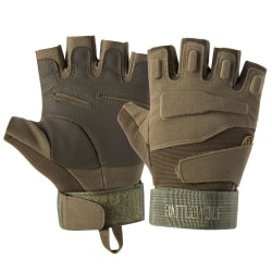 Tactical Half Finger Gloves Mens Army Military Soldier Special Army Green L