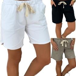 Unisex Drawstring Cotton Running Sport Shorts Black L