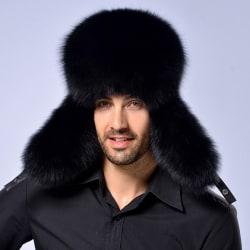 Män Vinter Varm päls Läder Snow Hat Thermal Trapper Cap Black