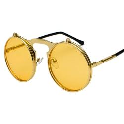 Vintage Flip Up Lens Solglasögon Mens Circle Round Glasses Gold Frame Gold Lenses 1 Pack