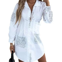 Waist Letter Shirt Dress White XL