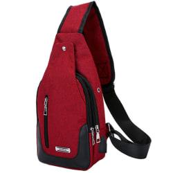 Men Waterproof Zipper Diagonal Chest Bag Small Protable Blue Red