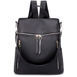 Women Waterproof Zipper Single Backpack Fashion Outdoors Black