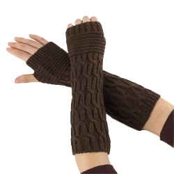 Winter Long Knitted Gloves Thick Warm Fingerless Mittens Arm Coffee
