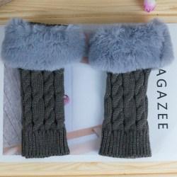 Winter Warm Fur Warmer Fingerless Glovers Mittens Knitted Deep grey
