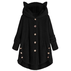 Winter Women Button cute Cat Ears Hooded Black 5XL