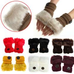 Winter Women Warm Winter Faux Rabbit Fingerless Gloves Mittens Coffee
