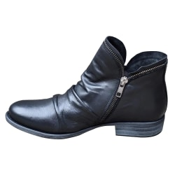 Woman Ladies Winter Round Toe Low-heel Martin Boots Black Boots Black EU 38