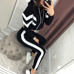 Women 2 piece Hoodied Suit Sport Outfits Black M