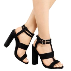 Women Ankle Strap High Block Heels Open Toe Strappy Black 41
