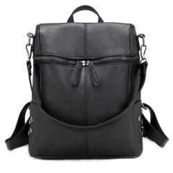 Women Bags Temperament Commuter Pure Color Temperament Backpack Black
