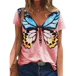 Kvinnor fjäril tryck kortärmad T-shirt blus topp rosa M