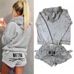 Women Cat Fleece Fluffy Pyjamas Sleepwear Nightwear Set Grey M