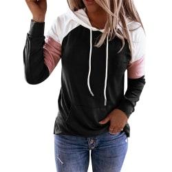 Women Color Block Hood Sweater Sports Style Long-Sleeve Winter black 3XL