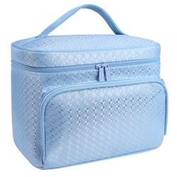 Women Diamond Pattern Cosmetic Bag Protable Simplicity Fashion Blue