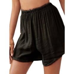 Kvinnors Elastiska Midja Baggy Shorts Fitness Sport Hot Pant Black 3XL