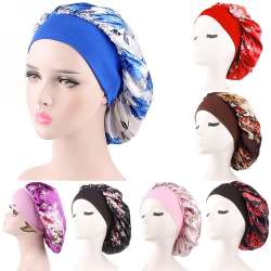 Women Fashion Satin Wide Band Sleep Bonnet black&red