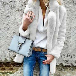 Women Faux Fur Lapel Fleece Cardigan Coat Overcoat white M