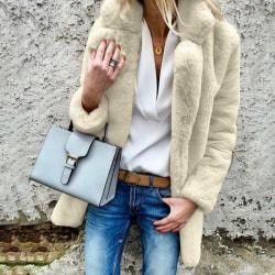 Women Faux Fur Lapel Fleece Cardigan Coat Overcoat apricot 2XL