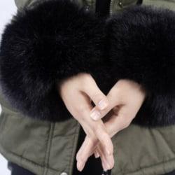 Women Fur Oversleeve Windproof Hand Wrist Warmer Black
