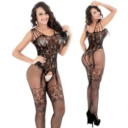 Kvinnor Fishnet Full Body Strumpor Bodysuit Underkläder Black