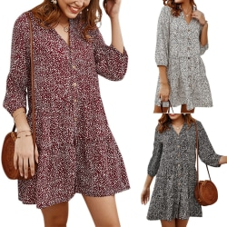 Women Floral-Print V-neck Seven-point Sleeve Button Dress Wine Red L