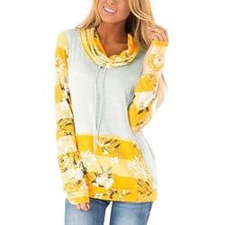Women Floral Printed Pocket Long Sleeve Ladies Sweatshirt Casual Yellow XL