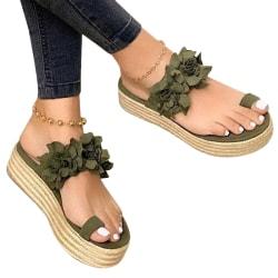 Women Flower Anti-slip Vintage Sandals Black 43